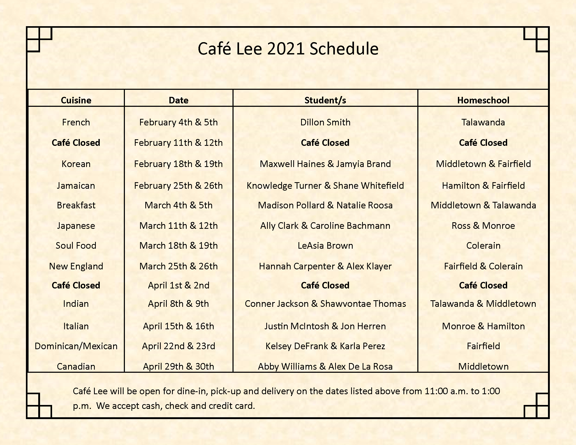 Cafe Lee 2021 Schedule